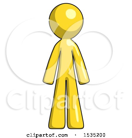 Yellow Design Mascot Man Standing Facing Forward by Leo Blanchette