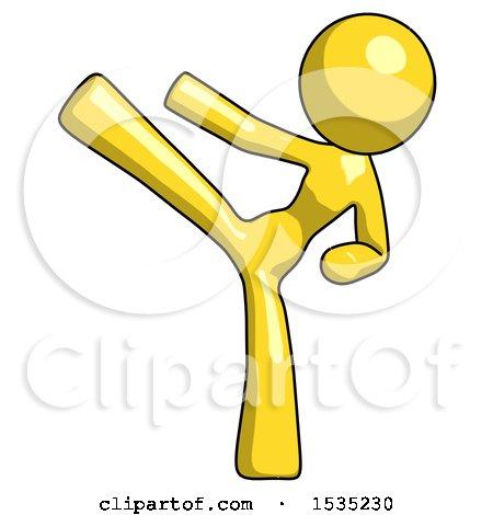 Yellow Design Mascot Woman Ninja Kick Left by Leo Blanchette