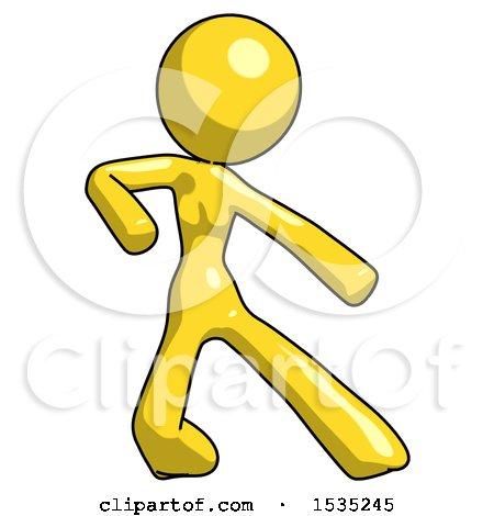 Yellow Design Mascot Woman Karate Defense Pose Right by Leo Blanchette
