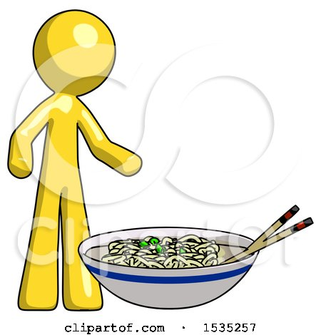 Yellow Design Mascot Man and Noodle Bowl, Giant Soup Restaraunt Concept by Leo Blanchette