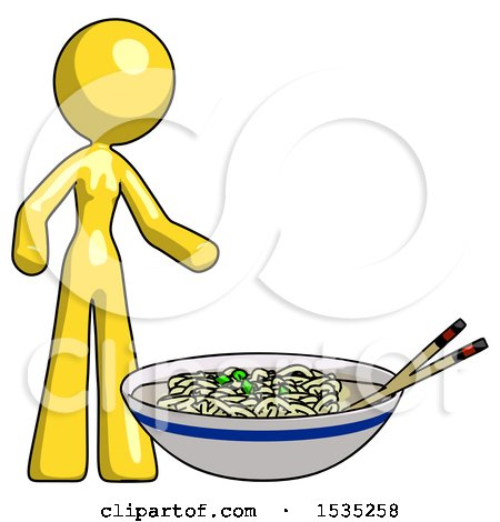 Yellow Design Mascot Woman and Noodle Bowl, Giant Soup Restaraunt Concept by Leo Blanchette