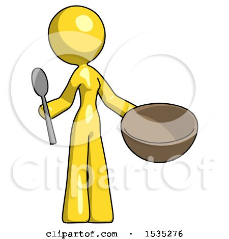 Yellow Design Mascot Woman with Empty Bowl and Spoon Ready to Make Something by Leo Blanchette