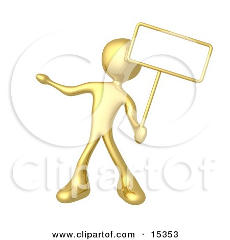 Gold Person Standing And Holding Up A Blank Sign For An Advertisement Clipart Illustration Image by 3poD