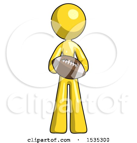 Yellow Design Mascot Woman Giving Football to You by Leo Blanchette