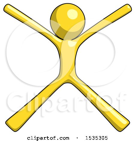 Yellow Design Mascot Man with Arms and Legs Stretched out by Leo Blanchette