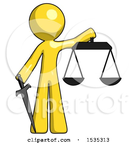 Yellow Design Mascot Man Justice Concept with Scales and Sword, Justicia Derived by Leo Blanchette