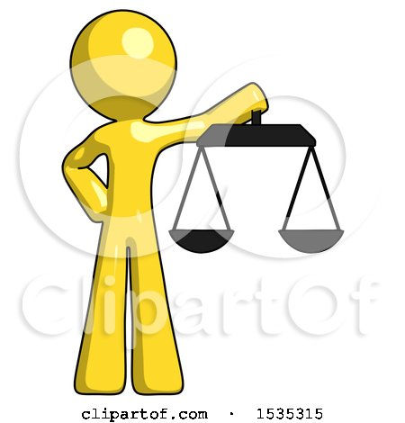 Yellow Design Mascot Man Holding Scales of Justice by Leo Blanchette