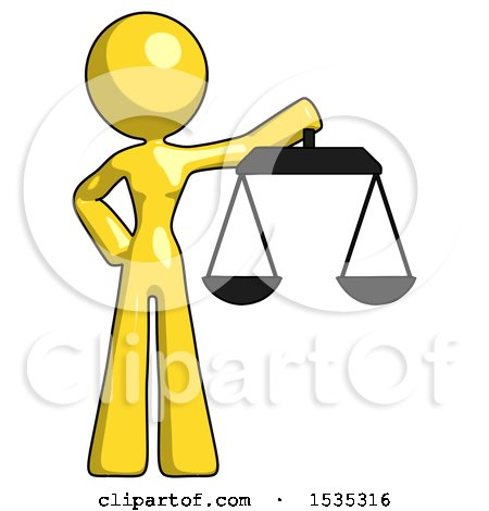 Yellow Design Mascot Woman Holding Scales of Justice by Leo Blanchette