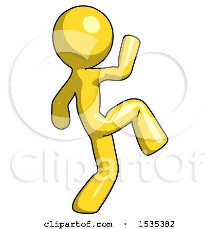 Yellow Design Mascot Man Kick Pose Start by Leo Blanchette