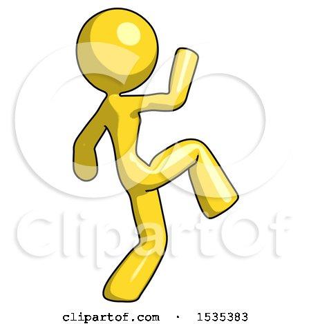 Yellow Design Mascot Woman Kick Pose Start by Leo Blanchette