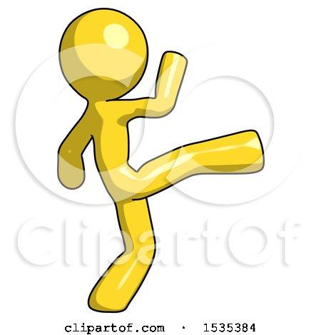 Yellow Design Mascot Man Kick Pose by Leo Blanchette