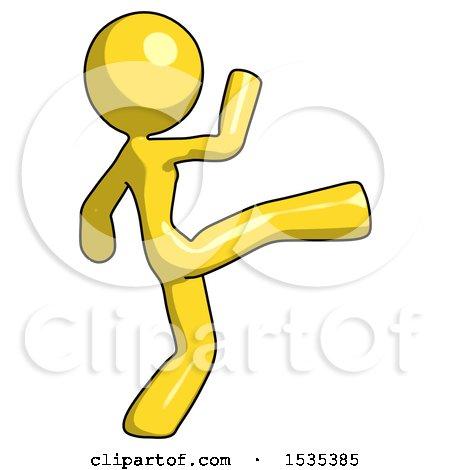 Yellow Design Mascot Woman Kick Pose by Leo Blanchette