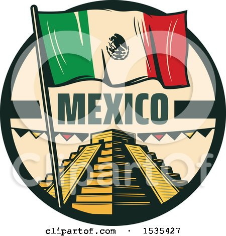 Clipart of a Retro Styled Cinco De Mayo Design with El Castillo Pyramid and a Mexican Flag - Royalty Free Vector Illustration by Vector Tradition SM