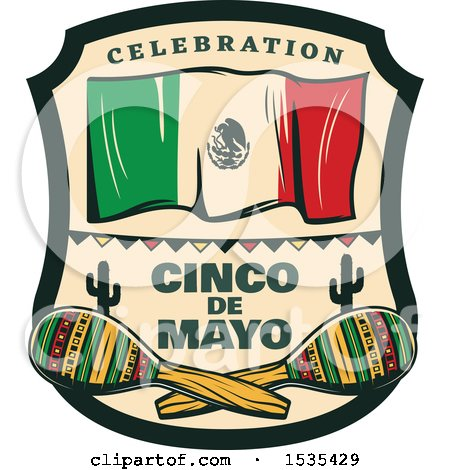 Clipart of a Retro Styled Cinco De Mayo Design with a Mexican Flag and Maracas - Royalty Free Vector Illustration by Vector Tradition SM