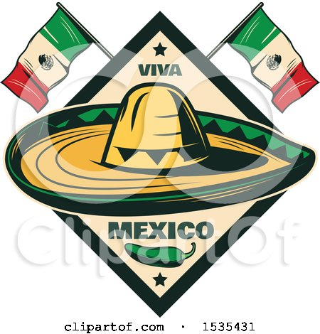 Clipart of a Retro Styled Cinco De Mayo Design with a Sombrero, Jalapeno and Mexican Flags - Royalty Free Vector Illustration by Vector Tradition SM