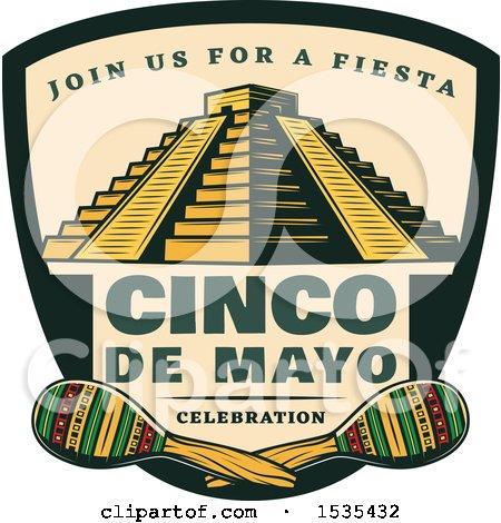 Clipart of a Retro Styled Cinco De Mayo Design with El Castillo Pyramid and Maracas - Royalty Free Vector Illustration by Vector Tradition SM