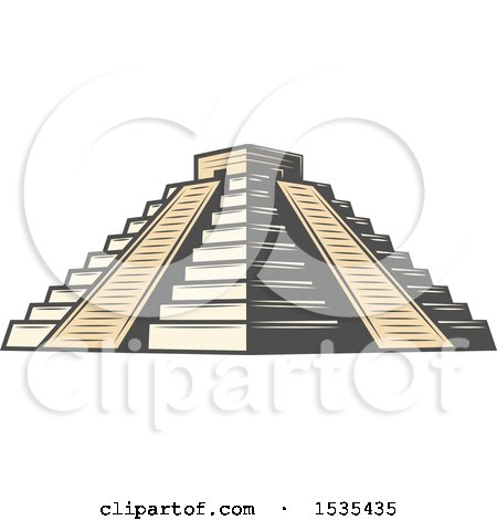 Clipart of El Castillo Pyramid, in Retro Style - Royalty Free Vector Illustration by Vector Tradition SM