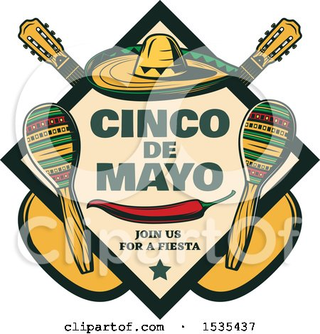 Clipart of a Retro Styled Cinco De Mayo Design with a Sombrero, Pepper, Guitars and Maracas - Royalty Free Vector Illustration by Vector Tradition SM