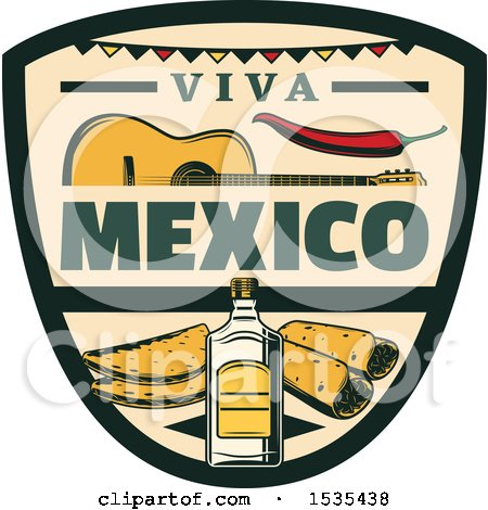 Clipart of a Retro Styled Cinco De Mayo Viva Mexico Design with a Guitar, Pepper, Tequila and Food - Royalty Free Vector Illustration by Vector Tradition SM