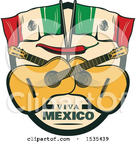 Clipart of a Retro Styled Cinco De Mayo Design with Mexican Flags, Guitars and a Red Pepper - Royalty Free Vector Illustration by Vector Tradition SM
