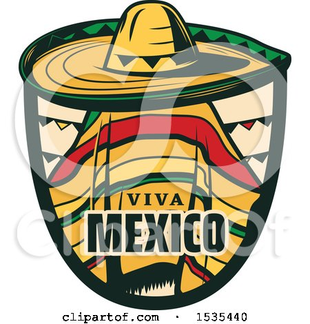 Clipart of a Retro Styled Cinco De Mayo Viva Mexico Design with a Sombrero and Poncho - Royalty Free Vector Illustration by Vector Tradition SM