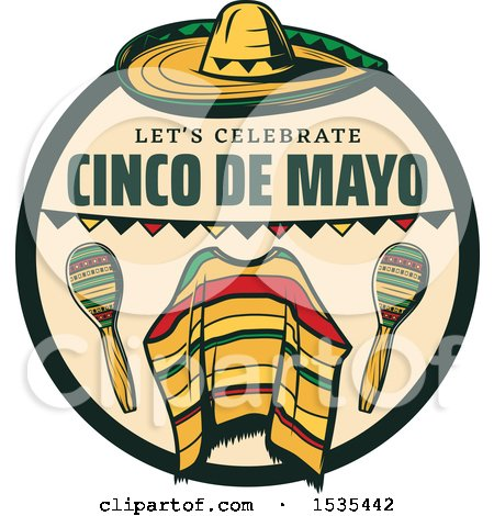 Clipart of a Retro Styled Cinco De Mayo Design with a Sombrero, Poncho and Maracas - Royalty Free Vector Illustration by Vector Tradition SM