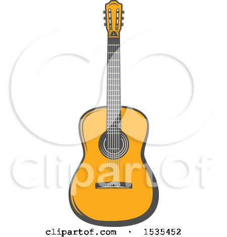 Clipart of a Guitar, in Retro Style - Royalty Free Vector Illustration by Vector Tradition SM