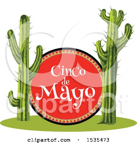 Clipart of a Cinco De Mayo Sign and Saguaro Cacti - Royalty Free Vector Illustration by Vector Tradition SM