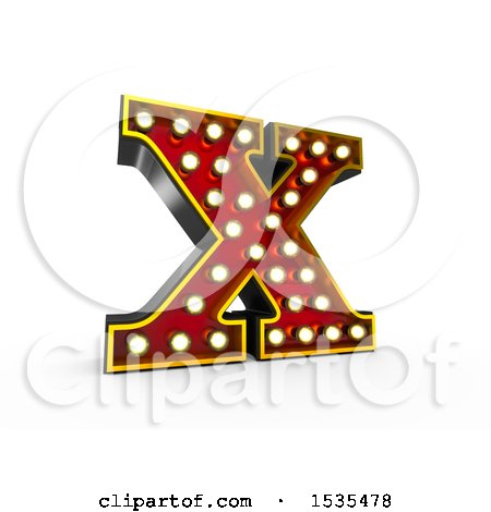 Clipart of a 3d Illuminated Theater Styled Vintage Letter X, on a White Background - Royalty Free Illustration by stockillustrations