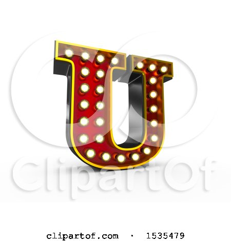 Clipart of a 3d Illuminated Theater Styled Vintage Letter U, on a White Background - Royalty Free Illustration by stockillustrations