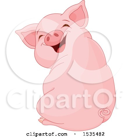 Cute Laughing Piglet Sitting and Looking Back Posters, Art Prints