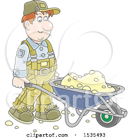 Clipart of a Caucasian Male Worker Pushing a Wheelbarrow - Royalty Free Vector Illustration by Alex Bannykh