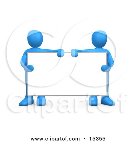 Two Blue Men Standing Behind And Holding Up A Blank White Advertising Sign Clipart Illustration Image by 3poD
