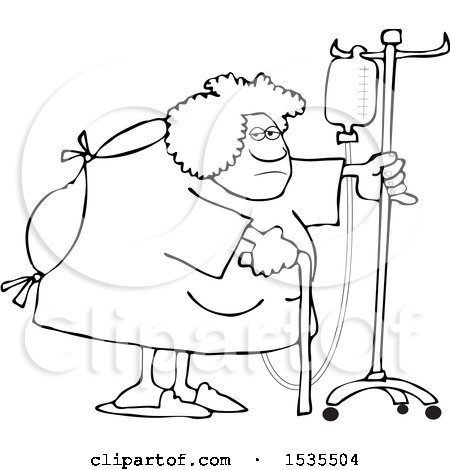Clipart of a Cartoon Lineart Hospitalized Woman Walking Around with an Intravenous Drip Line - Royalty Free Vector Illustration by djart