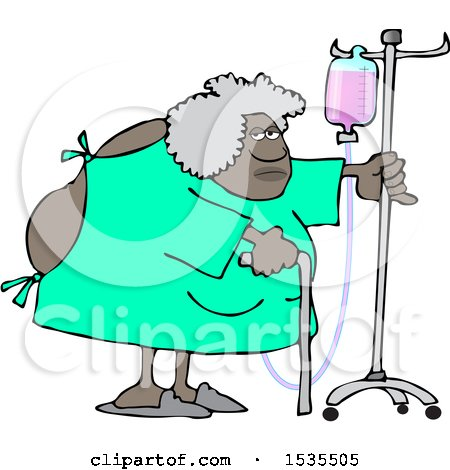Clipart of a Cartoon Hospitalized Woman Walking Around with an Intravenous Drip Line - Royalty Free Vector Illustration by djart