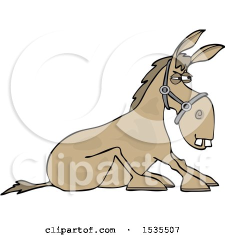 Clipart of a Cartoon Stubborn Donkey Refusing to Get up - Royalty Free Vector Illustration by djart
