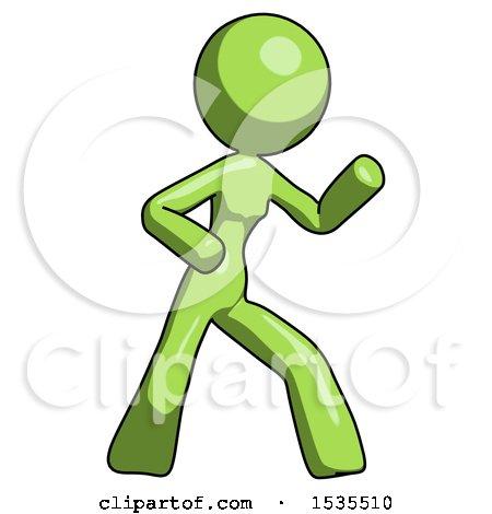 Green Design Mascot Woman Martial Arts Defense Pose Right by Leo Blanchette