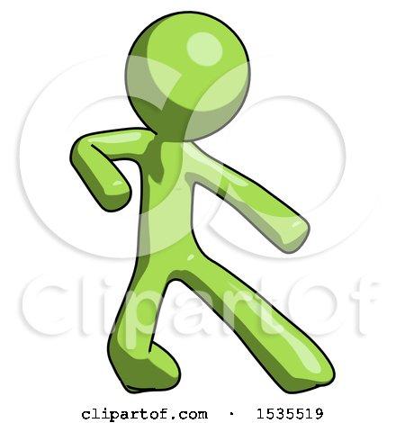 Green Design Mascot Man Karate Defense Pose Right by Leo Blanchette