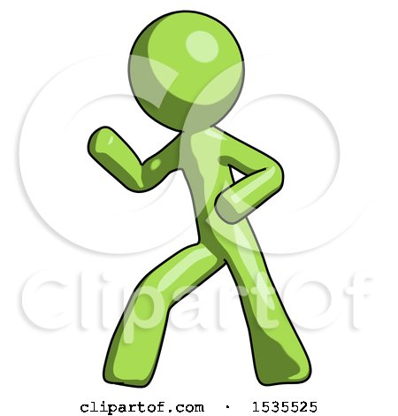 Green Design Mascot Man Martial Arts Defense Pose Left by Leo Blanchette