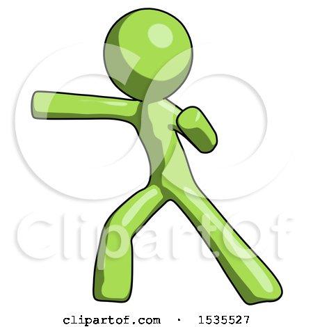 Green Design Mascot Man Martial Arts Punch Left by Leo Blanchette