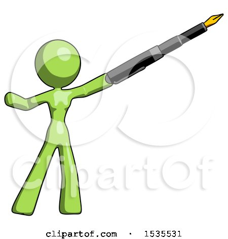 Green Design Mascot Woman Pen Is Mightier Than the Sword Calligraphy Pose Posters, Art Prints