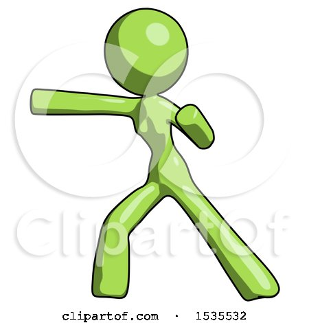 Green Design Mascot Woman Martial Arts Punch Left by Leo Blanchette