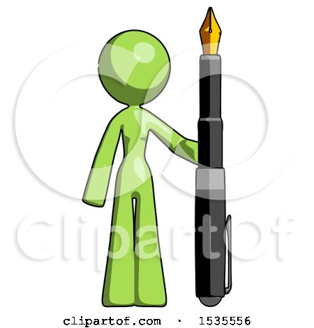 Green Design Mascot Woman Holding Giant Calligraphy Pen Posters, Art Prints