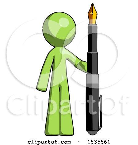Green Design Mascot Man Holding Giant Calligraphy Pen by Leo Blanchette