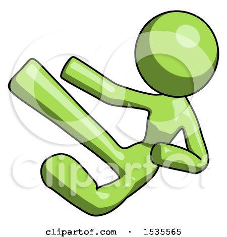 Green Design Mascot Woman Flying Ninja Kick Left by Leo Blanchette