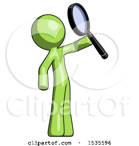 Green Design Mascot Man Inspecting with Large Magnifying Glass Facing up by Leo Blanchette