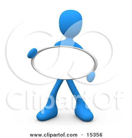 Blue Figure Holding Up A Blank Oval Sign Ready For An Advertisment Clipart Illustration Image by 3poD