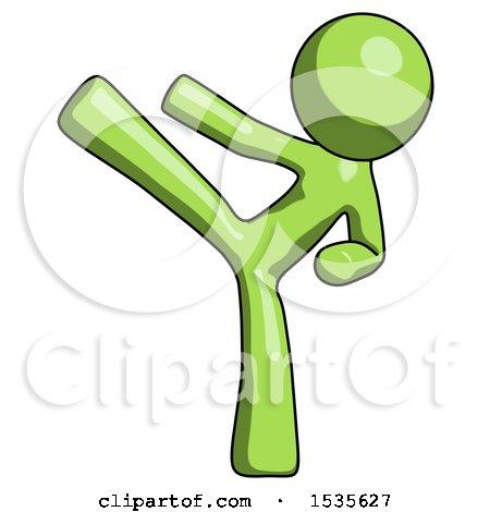 Green Design Mascot Man Ninja Kick Left by Leo Blanchette