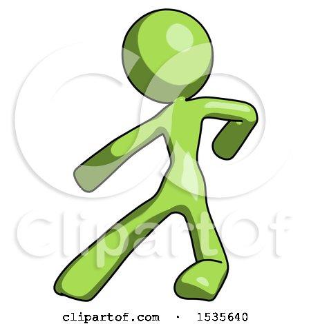 Green Design Mascot Woman Karate Defense Pose Left by Leo Blanchette