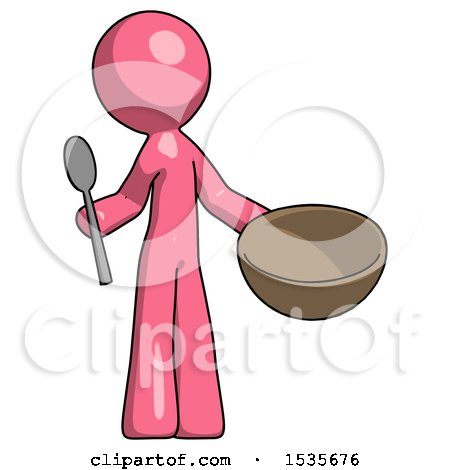 Pink Design Mascot Man with Empty Bowl and Spoon Ready to Make Something by Leo Blanchette